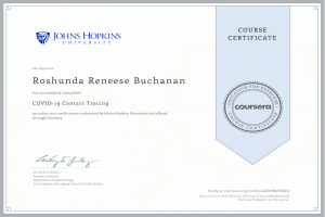 Covid-19 Contact Tracing Course Certificate for Roshunda Buchanan New